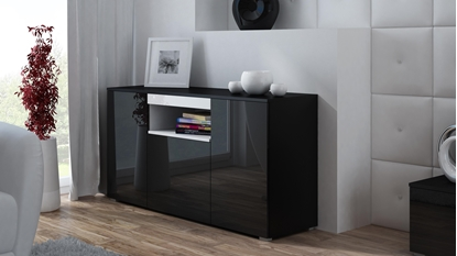 Изображение Cama sideboard VIVA 150 black/black gloss + white