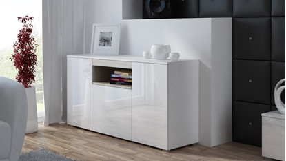 Изображение Cama sideboard VIVA 150 white/white gloss + sonoma oak