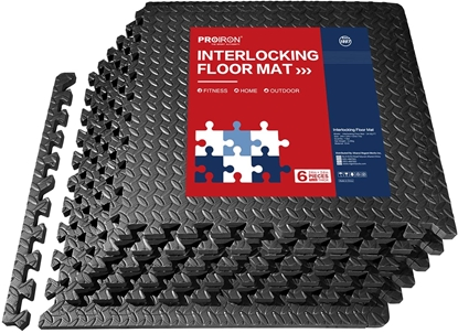 Attēls no PROIRON Exercise Mats Floor Protection Interlocking Mat Black, EVA Foam, 61 x 61 x 1.9, 6 puzzle mats + edge pieces