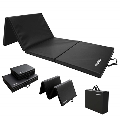 Attēls no PROIRON Gymnastics Mat Folding Exercise Mat Black, PU Leather / High density foam, 183 x 61 x 4.1 cm; Packed: 61 x 45.7 cm