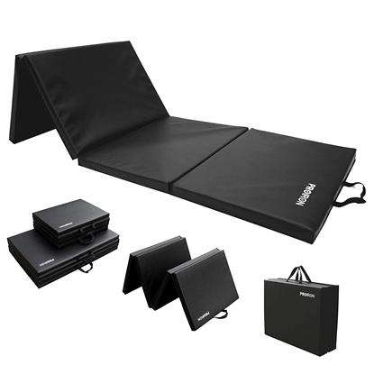 Изображение PROIRON Gymnastics Mat Folding Exercise Mat Black, PU Leather / High density foam, 183 x 61 x 4.1 cm; Packed: 61 x 45.7 cm