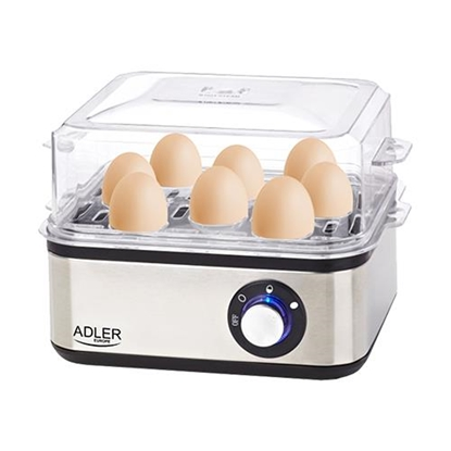 Picture of Adler AD 4486 egg cooker 8 egg(s) 800 W Black,Satin steel,Transparent