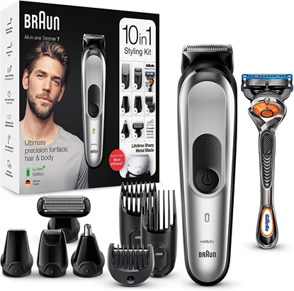 Picture of Braun Trimmer 10-in-1 MGK7220 Cordless, Number of length steps 13, Black/Silver