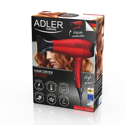 Attēls no Adler Hair Dryer AD 2258 Foldable handle, 2100 W, Red