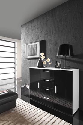 Изображение Cama living room sideboard UNI BLACK white/black gloss