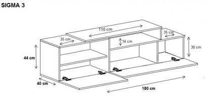 Изображение Cama TV cabinet SIGMA 3 180 black/black gloss + biały