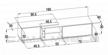 Изображение Cama TV cabinet SIGMA1 180 sonoma oak/black gloss