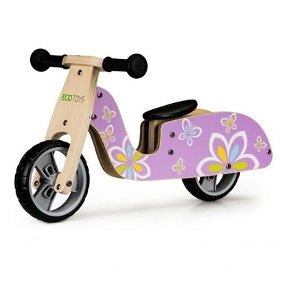 Attēls no EcoToys Balance Bike from wood Pink