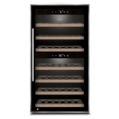 Attēls no Caso Wine cooler WineComfort 66 Energy efficiency class G, Free standing, Bottles capacity Up to 66 bottles, Cooling type Compressor technology, Black