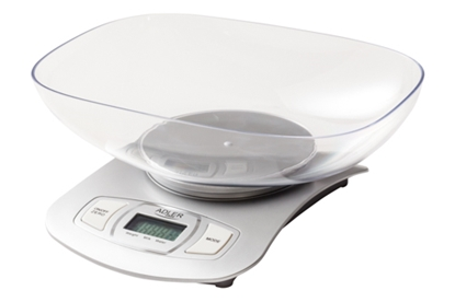 Attēls no Adler Kitchen scale AD 3137s Maximum weight (capacity) 5 kg, Graduation 1 g, Display type LCD, Silver