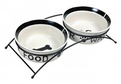 Изображение TRIXIE 24641 A set of ceramic bowls on a stand 0.6 l