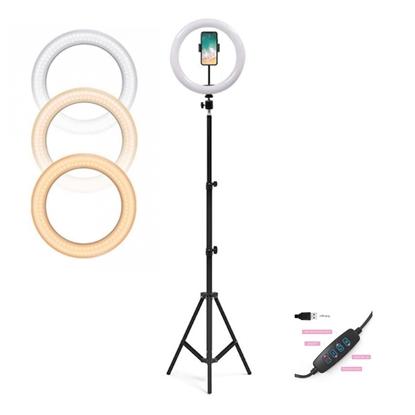 Picture of CP X7 Pro LED 26cm USB pieslēguma Selfie Lampa ar Pulti & Rokturi + Grīdas statīvs 1.6m max +Telefona stiprinājums