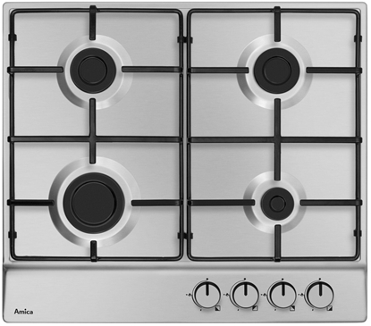 Изображение Amica PGA6100BPR hob Stainless steel Built-in Gas 4 zone(s)