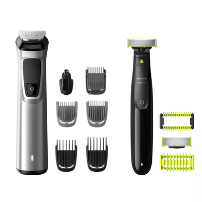 Изображение Philips Multigroom series 9000 12-in-1, Face, Hair and Body MG9710/90, Self-sharpening metal blades, Up to 120-min run time, 12 tools