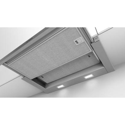 Attēls no Bosch Hood Serie 4 DFL064A52 Telescopic, Energy efficiency class A, Width 60 cm, 270 m³/h, Push Buttons, LED, Silver