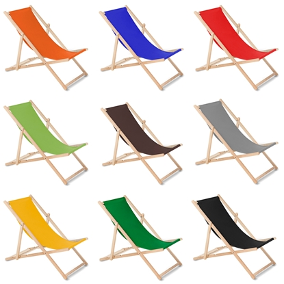 Attēls no Wooden chair made of quality beech wood with three adjustable backrest positions color Orange GreenBlue GB183