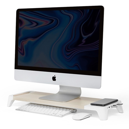 Attēls no 3-in-1 wooden monitor stand hub with fast wireless charging pad POUT EYES 8 White
