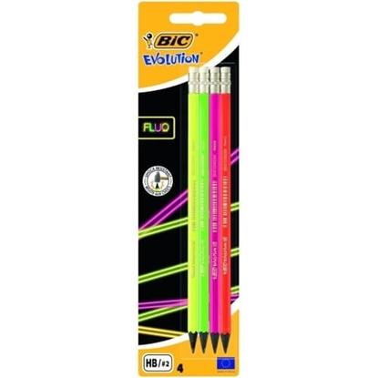 Изображение BIC pensils EVOLUTION FLUO ERASER BL4 EU, 4 pcs 449046