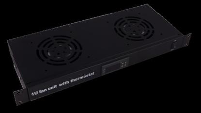 """Attēls no 1U divu ventilatoru bloks 19"""" komutācijas skapim, ar LCD displeju un termostatu"""