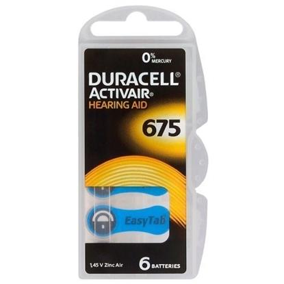 Изображение BATZA675.D6; 675 baterijas 1.45V Duracell Zn-Air PR44 iepakojumā 6 gb.