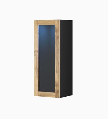 """Изображение Cama cabinet VIGO """"90"""" glass 90/35/32 black/wotan oak"""