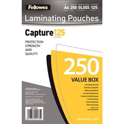 Изображение Fellowes A4 Glossy 125 Micron Laminating Pouch 250-Value Pack