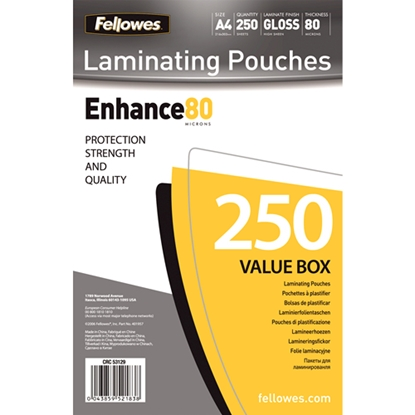 Изображение Fellowes A4 Glossy 80 Micron Laminating Pouch - 250-pack