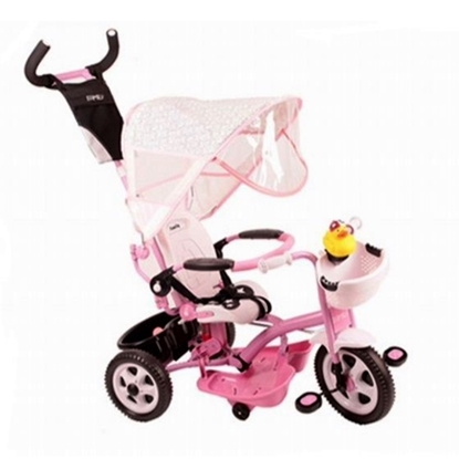 Изображение Riff F95941 2in1 Children's Tricycle - Stroller with a comfortable control handle for parents Pink