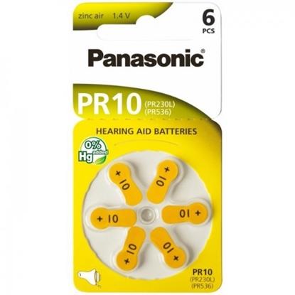Изображение BATZA10.P6; 10 baterijas Panasonic Zn-Air PR70 iepakojumā 6 gb.