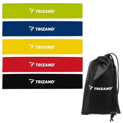 Attēls no Trizand Elastic Bands for Exercising Fitness Sport Gums 5 levels, various colors + Black Pouch Case