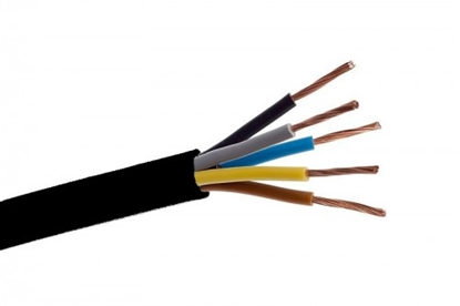 Изображение CYKY 5x6 elektrības kabelis ar vara monolītu dzīslu. Paredzēts lietošanai ārtelpās.