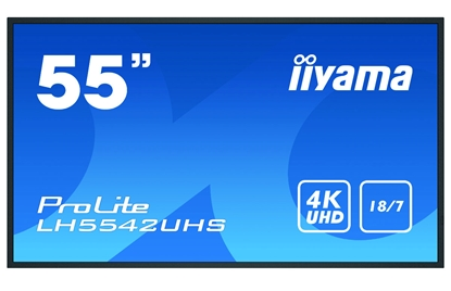 """Attēls no 55"""" 3840x2160, 4K, IPS, Landscape and Portrait, Full Metal Housing, 500cd/m², Media Play USB Port, SDM-S PC-Slot, 18/7 Operation, Integrated iiSignage software, E-Share, Android 8 OS, file- and web browser"""